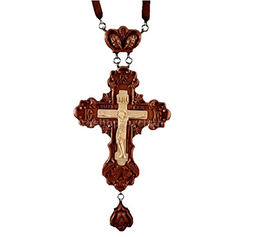 Workshop Archangel Russian Orthodox Priest Pectoral cross award. Carved Wooden Crucifix Christian Symbols Gifts #2 -