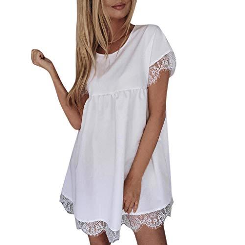 Wenini Womens Ladies O Neck Short Sleeve Lace Mini Dress Summer Holiday Beach Party Mini Dress