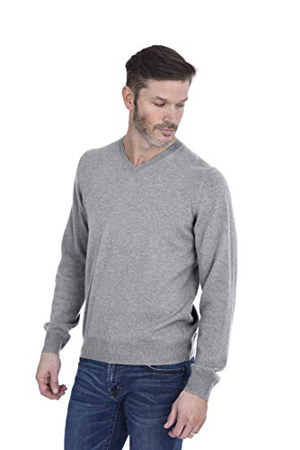 Cashmeren Men's 100% Pure Cashmere Long Sleeve Pullover V Neck Sweater (Heather Grey, X-Large)