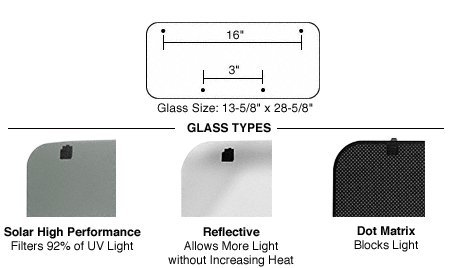 - CRL/SFC 15 x 30 Replacement Glass With Attached Hardware for AutoPort Sunroof