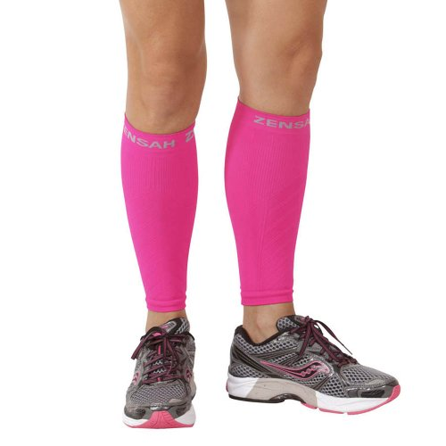 Zensah  Compression Leg Sleeves, Neon Pink, X-Small/Small