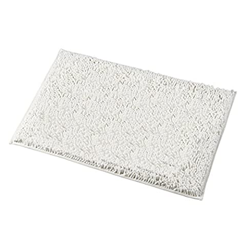 Mayshine 20x31 inch Non-slip Bathroom Rug Shag Shower Mat Machine-washable Bath mats with Water Absorbent Soft Microfibers of - Cream (Shag Bathroom Rug White)