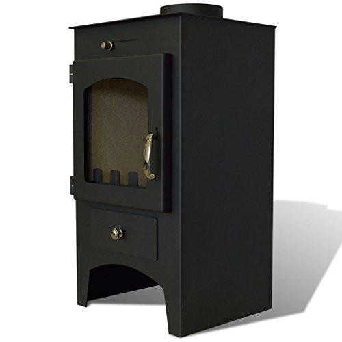 Anself Kaminofen Dauerbrandofen Fireplace aus Stahl 7 kW Schwarz