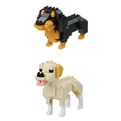 Nanoblocks 2 Interesting Dogs - Bundled Sets - Miniature Dachshund and Labrador Retriever (Japan Import): Toys & Games