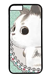 Personalized Protective Cases for New iPhone 6 PC Black Edge - Cute Big Eyes Rabbite