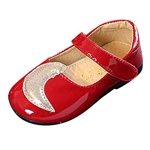 (Fiaya Toddler Little Girls Dress Shoes Ballet Mary Jane Moon Star Princess Shoes (Red, 18-24 Months))