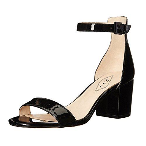EKS Women's Open Toe Chunky Heels Ankle Strap Buckle Dress Party Sandal Shoes black patent E5T12AByY
