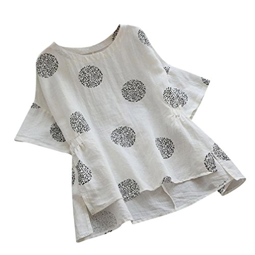 iYYVV Women Short Sleeved Linen Vintage Plus Size Dot Printed Loose Shirt Blouse ()