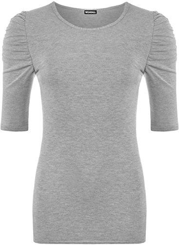 (WearAll Women's Ruched Short Sleeved Long Top - Light Gray - US 4-6 (UK 8-10))
