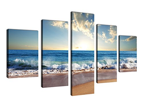 Canvas Wall Art Waves Beach Canvas Art Ocean Sunset 32″ x 60″ 5 Pieces Large Canvas Prints Blue Sea Modern Artwork Seascape Pictures for Home Decoration