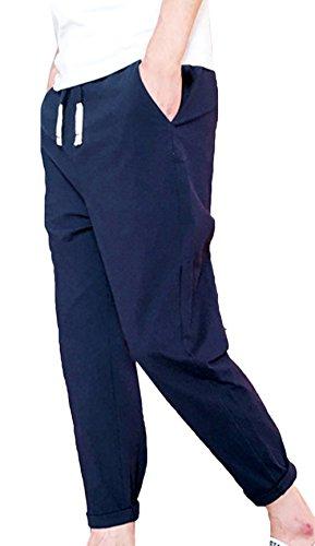 Lâche Couleur Coton Japonais D'été Foncé Lin Joggers Élastique Unie Style Bleu De Pantalons Avec Travail Cargo Pur Snone Léger Cordon Pantalon w8Ozq8Y