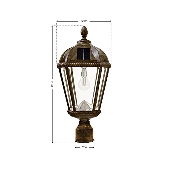 """Gama Sonic GS-98B-F-WB Royal Bulb Lamp Outdoor Solar Light Fixture, 3"""" Post-Fitter Mount, Weathered Bronze - PATENT SOLAR TECHNOLOGY - The GS Solar Light Bulb is our new patented technology that takes the conventional idea of a light bulb and incorporates it into outdoor solar lamps and lamp posts. It boasts a 10-year lifespan and creates the 360° light spread of a customary incandescent bulb. SIMPLE INSTALLATION - No electrical wiring is required for installation, making the Gama Sonic solar LED light the perfect light to install while offering an energy and money saving alternative to electric or gas-powered outdoor lighting. Simply place the solar powered light onto any existing 3-inch outside diameter lamp post (pole not included). AUTOMATIC DUSK TO DAWN LIGHTING - This Gama Sonic solar outdoor light is designed to provide dusk-to-dawn performance when its battery gets fully charged during the day. The integrated photocell sensor can detect light and will automatically turn on at dusk and off once the sun comes up. - patio, outdoor-lights, outdoor-decor - 41ey3Fn%2BG6L. SS570  -"""