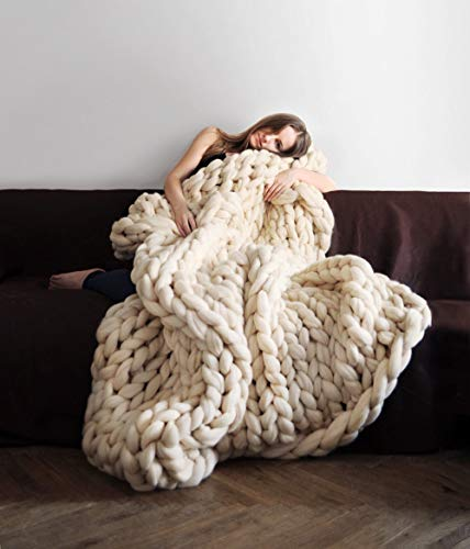 clootess Chunky Knit Blanket Merino Wool Hand Made Throw Boho Bedroom Home Decor Giant Yarn (Beige 40