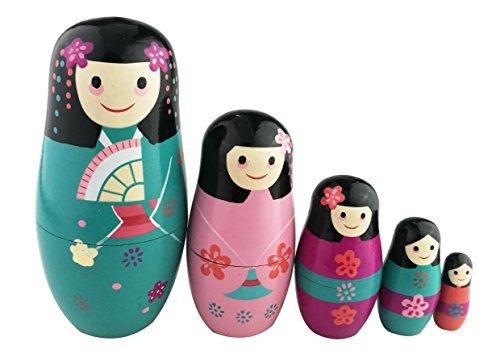Winterworm Traditional Japanese Girls in Kimono Handmade Wooden Russian Nesting Dolls Matryoshka Dolls Set 5 Pieces for Kids Toy Birthday Home Decoration Collection