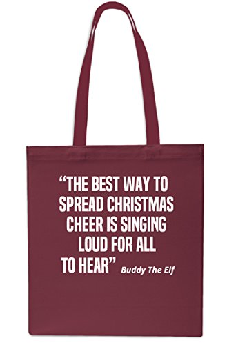Spread Buddy Singing Gym litres Beach Loud x38cm Best Way Maroon 42cm The Christmas The Christmas To All 10 Hear Is To Elf Shopping Cheer For Tote Bag Black qtO0fH