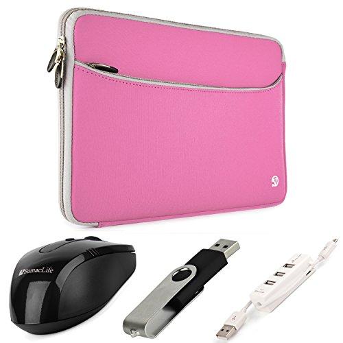 VanGoddy Neoprene Sleeve Cover for Asus ROG 17.3-inch Gaming Laptops + Black Wireless USB Mouse + Black 4GB Thumbdrive + 3 Port USB Hub (Pink)