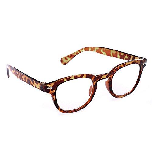 Doober 1PC Men Women Retro Round Frame Rimed Reading Glasses Eyeglasses +1.0 ~+4.0 (Leopard, - Round Shape For Glasses Face Of