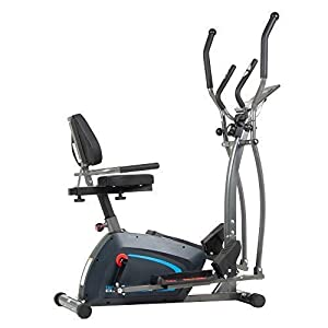 Body Champ 3-in-1 Exercise Machine, Trio Trainer, Elliptical and Upright Recumbent Bike