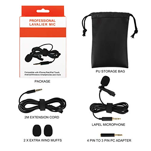 Black MoKo Lavalier Microphone Hands Free Shirt Collar Clip-on Voice Amplifie for iPhone iPad PC Laptop Smartphones Tablets Professional Small Mini Lapel Mic Omnidirectional Condenser Microphone