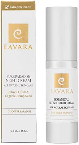 Organic Retinol A Night and Under Eye Cream Serum For Women | Anti Aging Anti Wrinkle Natural Organic Facial Skin Care With Hyaluronic Acid | Hydrating Face Moisturizer