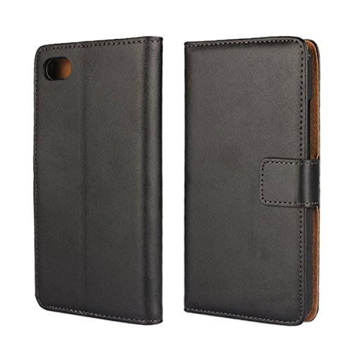 Blackberry Z30 Case [iCoverCase] Premium Leather Hard Wallet Case [Card Slot] Folded Magnetic Clip Protective Pouch [Book Fold] Kickstand Cover for Blackberry Z30 (Black) - Blackberry Z30 Leather Case