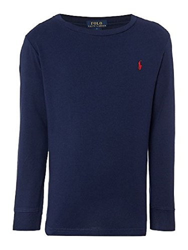 Polo Ralph Lauren Men Long Sleeve Crewneck Pony Logo T-Shirt (Large, Navy/Red (Long Sleeve Ribbed Polo Shirt)