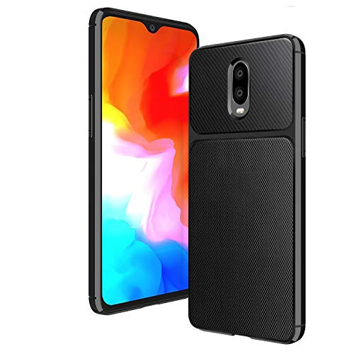 ELESNOW OnePlus 6T Case, Carbon Fiber Design Ultra Thin Shock Absorption Anti Scratch Protective Case for OnePlus 6T (Black)