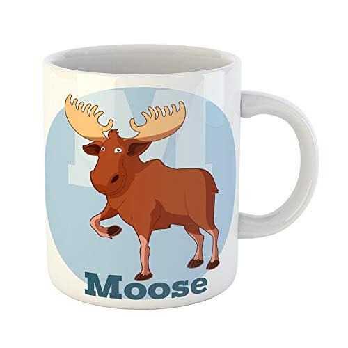 Emvency Coffee Tea Mug Gift 11 Ounces Funny Ceramic Colorful Alphabet Abc Cartoon Moose Animal Book Gifts For Family Friends Coworkers Boss Mug