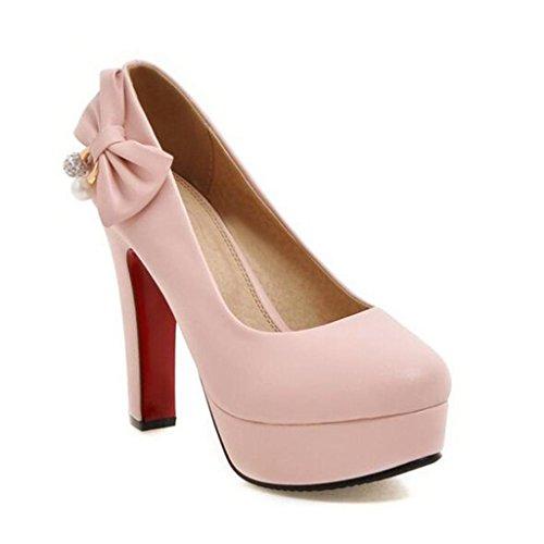 W&LM Sra Tacones altos Corbata bien Cabeza redonda Plataforma a prueba de agua Baja ayuda Boca rasa Zapatos individuales Pink