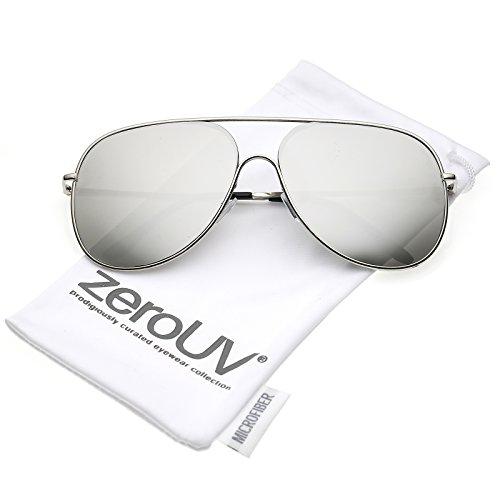 zeroUV - Oversize Metal Semi Rimless Teardrop Mirrored Flat Lens Aviator Sunglasses 62mm (Silver / Silver - Lens Optics Flat
