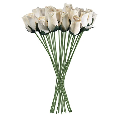 White Realistic Wooden Roses 32 Count ()