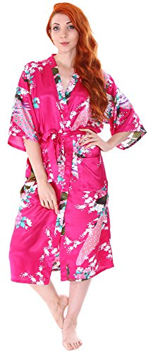 Luxurious Kimono Robe in Silky Peacock Floral Print with Pockets, Rose