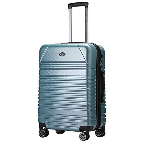 Travel Joy Expandable Carry on Luggage ABS+PC Premium Suitcase TSA Locks Lightweight Spinner Wheels Hardshell Luggage (LIGHT GREEN1, 1 pc carryon (20