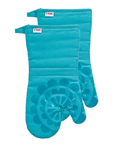 (T-fal Textiles 97175 2-Pack Medallion Design 100-Percent Cotton and Silicone Oven Thumb Mitt,)