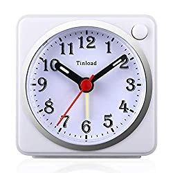 Tinload Small Analog Travel Alarm Clock Silent Non Ticking,Snooze,Ascending Beep Sounds, Battery Operated,Light Functions, Easy Set (White)
