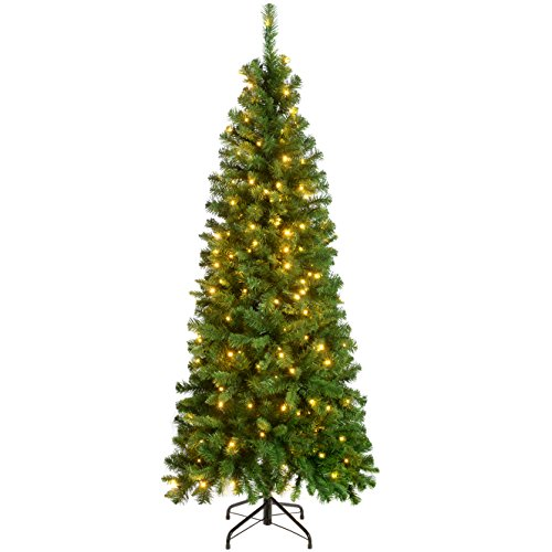 WeRChristmas-Pre-Lit-Slim-Christmas-Tree-with-200-White-LED-Lights-6-ft18-m-Green