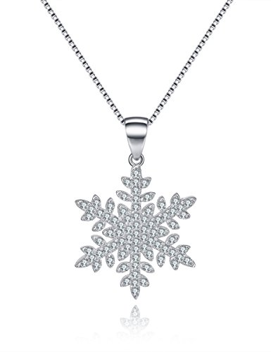 Cubic Zirconia Snowflake Pendant - Snowflake Necklace Sterling Silver Cubic Zirconia Pendant Valentine's Day Gifts for Her Gifts For Wife Girlfriend Anniversary Gifts for Her Jewelry Gifts for Women Romantic Gifts For Her