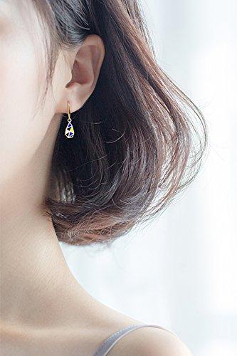 KENHOI Beauty s925 silver earrings earings dangler eardrop women girls exquisite gift unique style fashion creative personality golden woman colorful geometric design college students ear jewelry