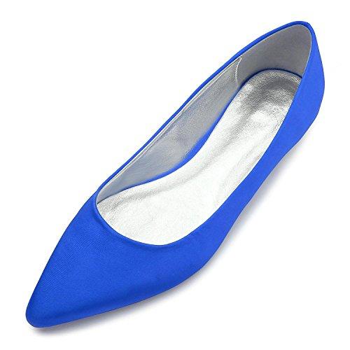L@YC Zapatos De La Boda De La Novia Novia R-5047-26 Bomba Esencial Puntiagudo Stretch Court Zapatos De SatéN Fiesta Y Noche Zapatos Grandes Blue