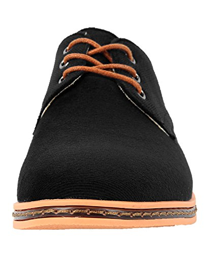 4HOW Mens Classic Oxford Casual Shoe Dress Black Blue Corduroy Black Io365