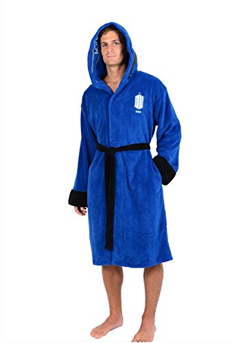 Robe Factory Men's Dr. Who Tardis Police Box Fleece Robe, Blue