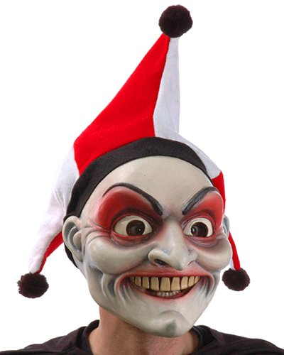 Zagone Jester Bob-O Mask,  Joker with Big Teeth, Nose & Hat -