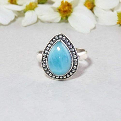 Sivalya Pear Cut Natural Dominican Larimar Ring in 925 Sterling Silver - Exquisite Handcrafted Ring in Solid Silver - Size 8