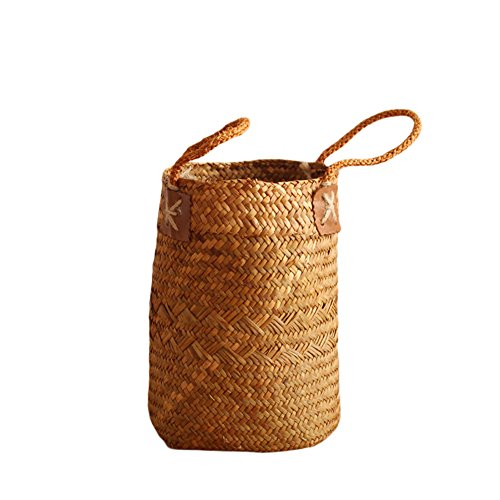 Natural Woven Seagrass Tote Belly Basket, Nordic Fruit Gardening Storage Basket Decorative Basket Flower Pot Planter with Handles for Home Organizer, Plant Pot Cover, Laundry and Beach Bag(S)
