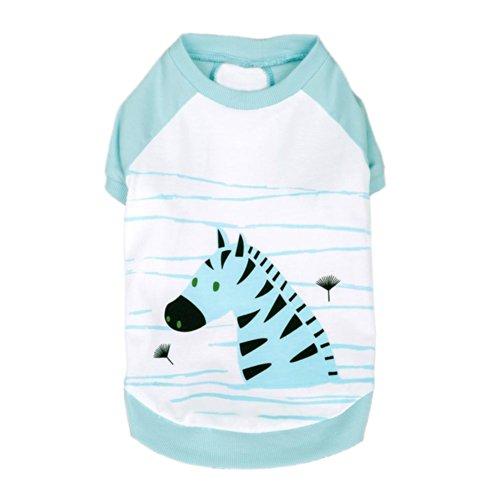 [Blueberry Pet Henry the Zebra Cotton Dog Shirt in Aquamarine, Back Length 12