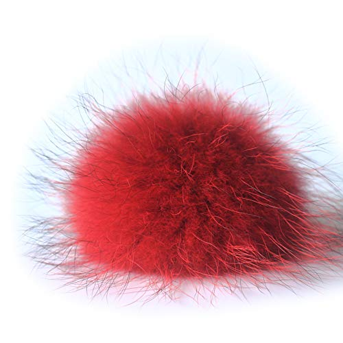 Fosrion 6.3 Diameter Big Raccoon Fur Pom Ball for Shoes Boots Hat Handbag Charms DIY Snap Button or Clasp (Red)
