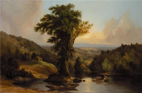 'Thomas Doughty,Landscape,the Ferry,1793-1856' Oil Painting, 18x27 Inch / 46x70 Cm ,printed On High Quality Polyster Canvas ,this Cheap But High Quality Art Decorative Art Decorative Canvas Prints Is Perfectly Suitalbe For Gym Gallery Art And Home Decor And (Tag Junior Books Thomas)