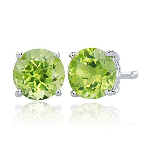 - Elegant Natural Peridot Gemstones 925 Sterling Silver 925 Round Stud Jewelry Earring