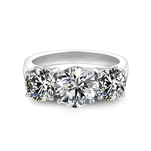 Platinum Plated Silver 4ct Center 6.5mm-8mm-6.5mm Heart Arrows Cut Moissanite Three Stone Engagement Ring Wedding Band for Women Band Width 2.7mm ()