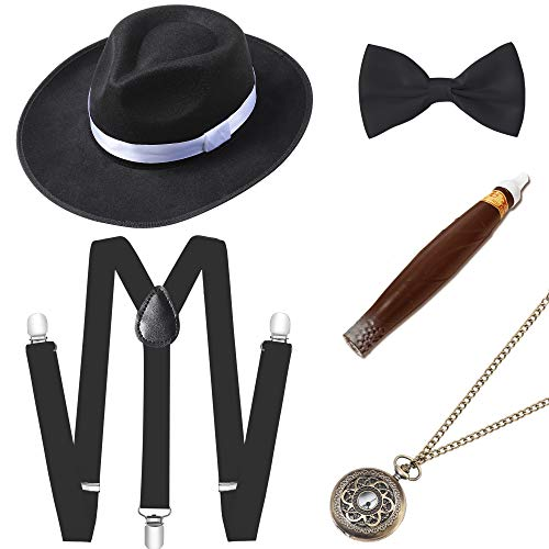 BABEYOND 1920s Mens Gatsby Gangster Costume Accessories Set Manhattan Fedora Hat Suspenders (Set-8) ()